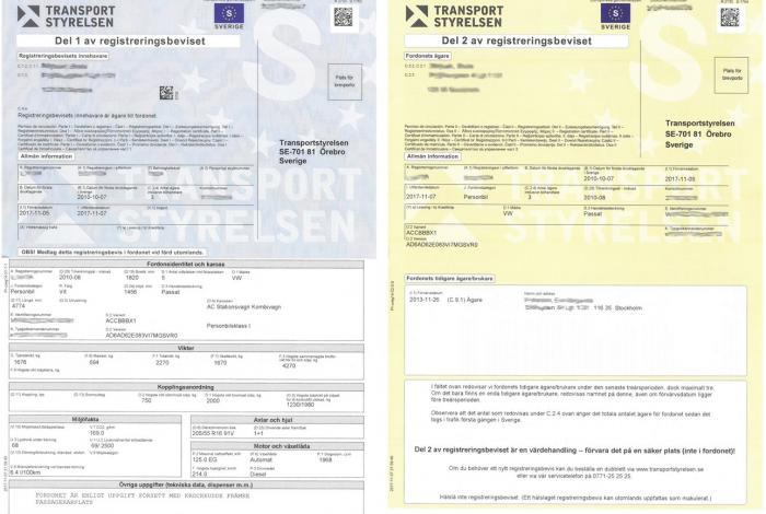 Szwedzki dowód rejestracyjny (Registreringsbevis)